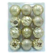 home accents 80 mm shatterproof ornaments in gold 12
