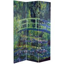 6 ft tall works of monet canvas room divider water lily garden