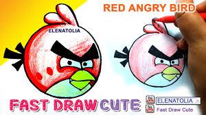 draw red angry birds color pencil elenatolia