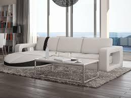 canapé d angle réversible en simili talita blanc et bande