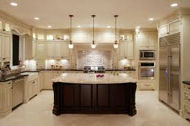 u shaped kitchen designs with island grey concrete floor 3 tier