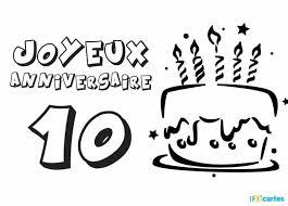 Carte anniversaire 10 ans coloriage gâteau avec bougies  123cartes