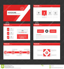 abstract red polygon infographic element and icon presentation