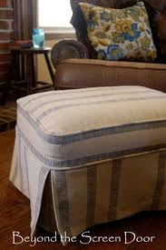 Matching Chair And Ottoman Slipcovers Before After Ottoman Slipcover Beyond The Screen Door Sh