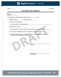 create an affidavit of identity free template legaltemplates