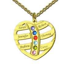 necklace with birthstones gold color engraved heart family name necklace birthstones kids