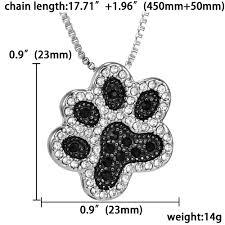 black rhinestone necklace images Silver plated black and white crystal rhinestone dog paw jpg