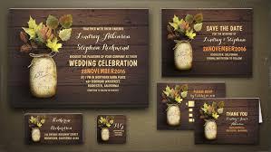 jar wedding programs read more rustic jar and fall leaves wedding invitations