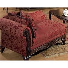 Rolled Laminate Flooring Furniture Red Pattern Fabric Chaise Lounge Chairs With Rolled Arm