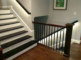 Stairway Banisters And Railings Led Strip Lighting Brightens Up This Staircase With Led Strip In