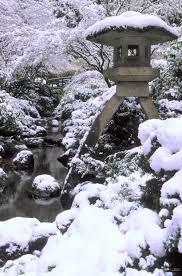 snow capped japanese lantern photgraph david m cobb japanese