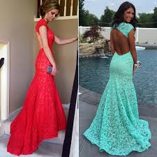 red lace prom dress mermaid open back prom dresses latest