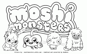 moshi monsters coloring pages print kids coloring