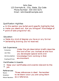 Resume With No Job Experience Template Bartender Resume No Experience Template Http Www Resumecareer