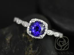 Halo Cushion Engagement Rings Rosados Box Christie 6mm White Gold Round Blue Sapphire And