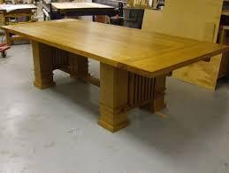 handmade solid oak prairie style dining table by beacon custom