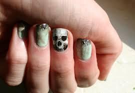 skull nail art freehand glitter gradient ladycrappo u2022