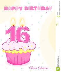 sweet sixteen birthday cake greeting stock vector image 12221333