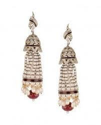 karigari earrings crescent kundan earrings with drop by karigari shop now http