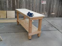 Rolling Work Bench Plans Furniture Simple Oak Wood Rolling Workbench For Cozy Table Work