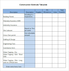 Estimate Template Excel 5 Construction Estimate Templates Free Word Excel Pdf