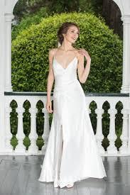 simple sheath spaghetti straps slit side satin wedding dress