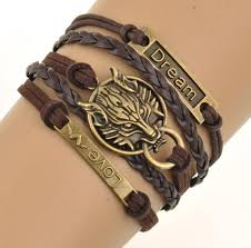 men jewelry bracelet images Charm boho wolf style brown rope chain bracelet men jewelry jpg