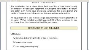 Blank Bill Of Sale Form For Car by Illinois Equipment Bill Of Sale Youtube