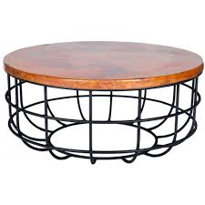coffee table with iron base axel iron coffee table with round hammered copper top