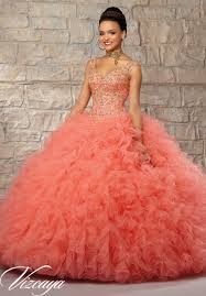 quinceanera dresses coral ruffled tulle skirt with contrasting embroidered beaded bodice