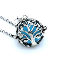 glow in the antique silver tree of locket pendant chain