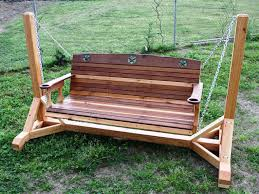 outdoor glider swing with table cedar creek woodshop porch swing patio swing picnic table