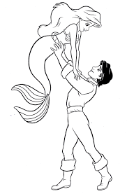 princess ariel u0026 prince eric coloring pages coloring pages