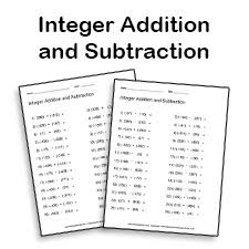 adding and subtracting integers worksheet math printables