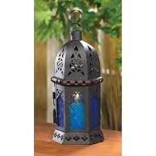 home decor lanterns 14120 ocean blue candle lantern wholesale blue glass moroccan