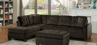Reversible Sectional Sofas Homelegance Emilio Reversible Sectional Sofa Chocolate Fabric