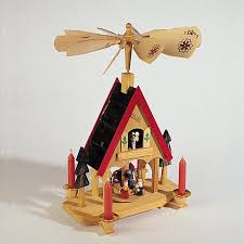 12 wooden alpine windmill nativity carousel table top