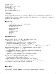 My Perfect Resume Examples by Professional Claims Adjuster Trainee Templates To Showcase Your