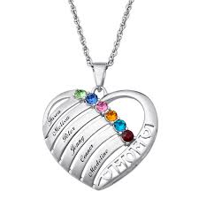 birthstone necklace engraved heart family birthstone necklace for 38814