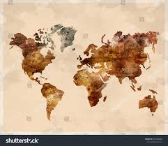 Watercolor Map Of The World by Watercolor Map World Brown Color Retro Stock Vector 247966888