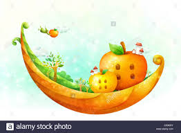 illustration of apple shape house standing on curve stock photo