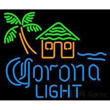 palm tree neon light corona light tiki hut w palm tree neon beer sign neon sign inc