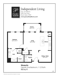One Bedroom Floor Plans For Apartments by Apartment Home Features Parc At Traditions
