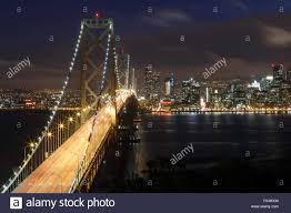 Bay Bridge Lights San Francisco Bay Bridge And Skyline At Night With City Lights