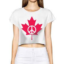 Flag Crop Top Peace Symbol Flag Of Canada Maple Leaf Female T Shirt Emoji