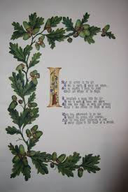 illuminated manuscript of victorian verse and floral decoration