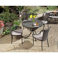 High Top Patio Furniture Set - home styles stone harbor 5 piece round patio dining set with taupe