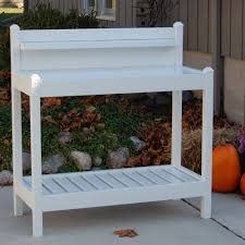 Outdoor Potters Bench Dura Trel Vinyl Greenfield Potting Bench White Walmart Com