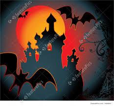 halloween background with full orange moon