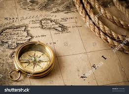 Compass Map Old Compass On Vintage Map Stock Photo 72753388 Shutterstock